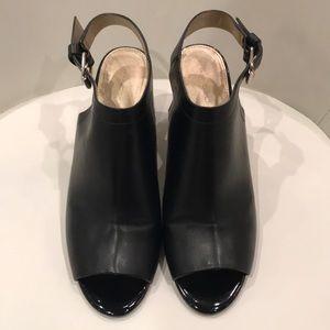 Bandolino 7th Habit Black Peep Toe Wedges